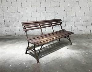 Banc Metal Bois : ancien banc de jardin bois et demi fer rond arras ~ Teatrodelosmanantiales.com Idées de Décoration