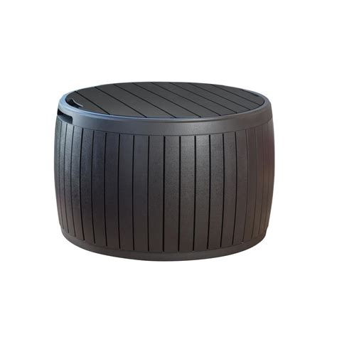 keter deck box home depot keter circa 37 gal resin storage circular deck box 230897