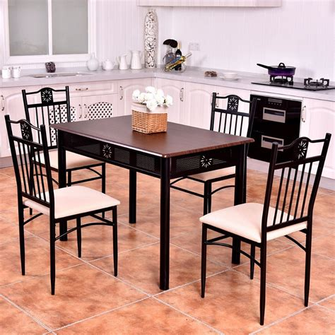 Goplus 5 Piece Kitchen Dining Set Wood Metal Table And 4