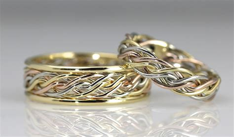 braided unique wedding rings handmade by artist todd alan