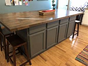 diy, kitchen, island, made, with, stock, base, cabinets, and, butcher, block, top, , paint, color, , p, u2026