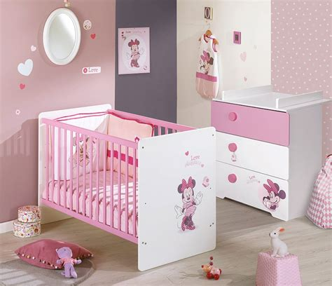 chambre minnie bebe lit bébé à barreaux 120x60 disney minnie de sauthon