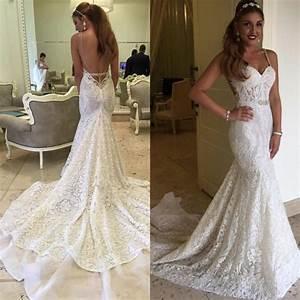tight open back long train lace mermaid wedding dress With tight mermaid wedding dress