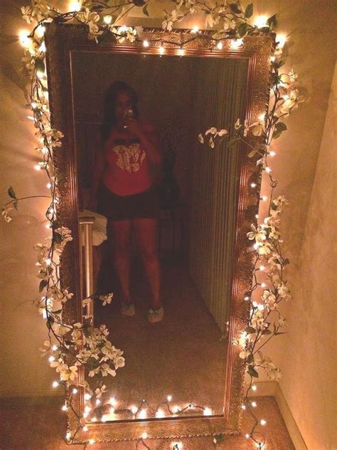 Ideas Around A Mirror by Added Some Flowers And Strings Lights Around A