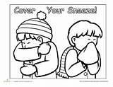 Sneeze Hygiene Sneezing Elbow Hope While Tissue Hands Wash Hand Handkerchief Sanitation sketch template