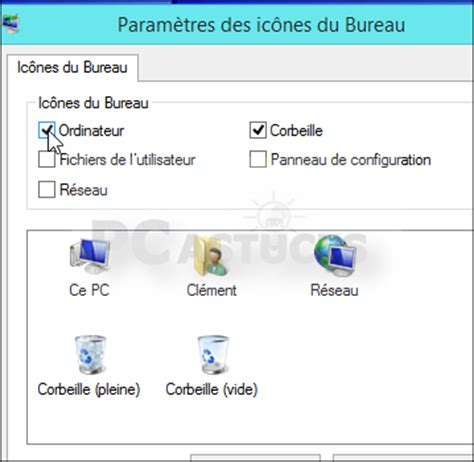 retrouver l ic 244 ne ordinateur sur le bureau windows 8