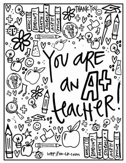 Teacher Appreciation Week Printables Coloring Xo Printable