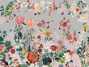 Papier Peint Fleuri : papier peint fleur jardin gris by moustache design ~ Premium-room.com Idées de Décoration