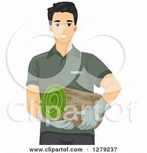 Clipart Illustration of a Roll Of Green 3d Sod Being ...