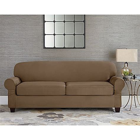 Slipcovers For Couches With Cushions by Sure Fit 174 Designer Suede Individual Cushion 2 Seat Sofa