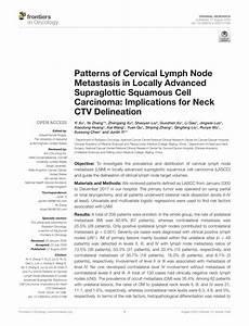 Pdf  Patterns Of Cervical Lymph Node Metastasis In