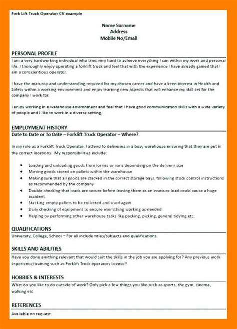 Forklift Driver Resume Template by 9 10 Forklift Driver Resume Sles Maizchicago