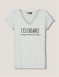 T Shirt Avec Message : t shirt manches courtes encolure en v message t 39 es chiante mais je t 39 aime quand m me a ~ Nature-et-papiers.com Idées de Décoration