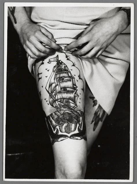 black  white ship tattoo  legjpg