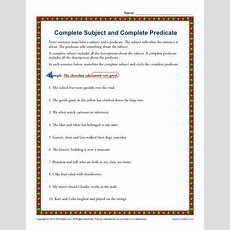 Complete Subject And Complete Predicate  3rd Grade Worksheets