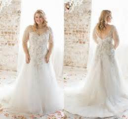 plus size bridesmaid dresses cheap plus size wedding dresses 2016 boat neck half sleeve appliques lace wedding dress beaded court