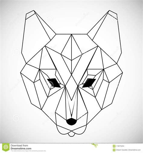 loup geometrique de tete de vecteur dessine dans le style