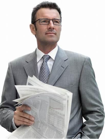 Businessman Transparent Um Gato Min Newspaper Como