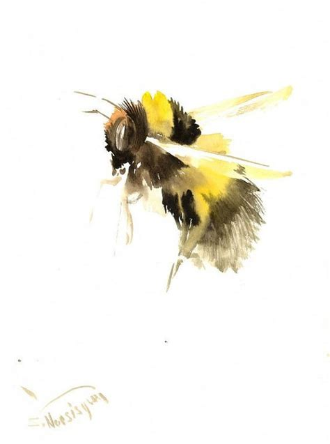Lovely watercolor flying bee tattoo design - Tattooimages.biz