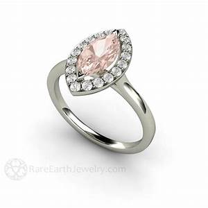 marquise morganite engagement ring diamond halo rare With rare earth wedding rings