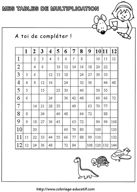 exercice de table de multiplication hotelfrance24