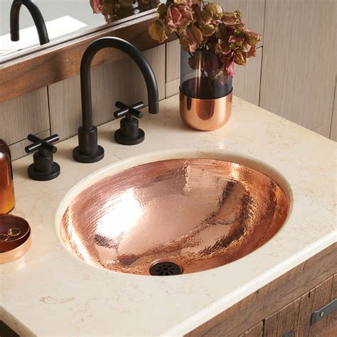 classic   hammered copper bathroom sink native trails