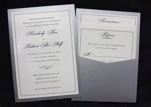 wedding pocket invitations navy silver formal border scroll clutch pocket wedding invitations emdotzee designs