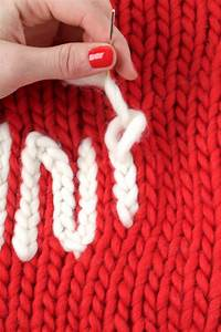 How To Make The Chain Stitch To Embroider Words On Knitted