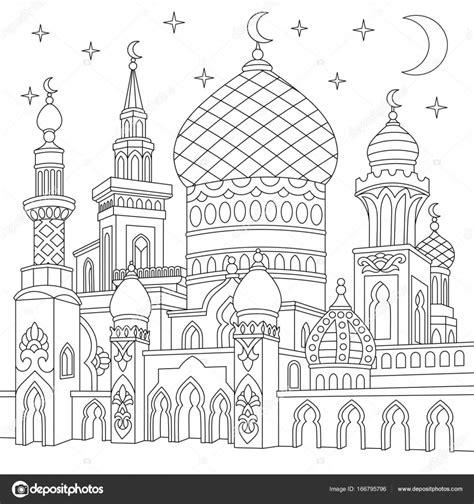 Moskee Kleurplaat by Zentangle Gestileerde Islamitische Moskee Stockvector