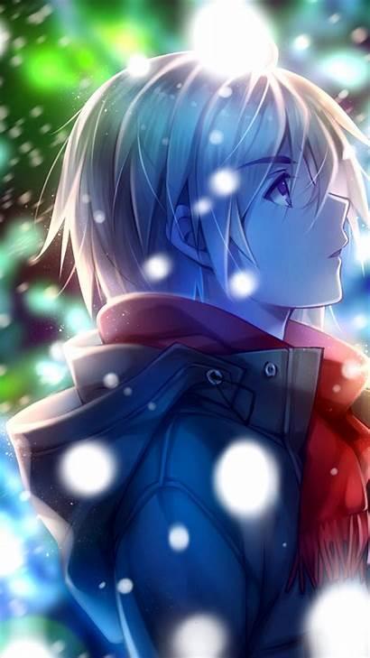Anime Boy Profile Scarf Winter Snow Wallpapers