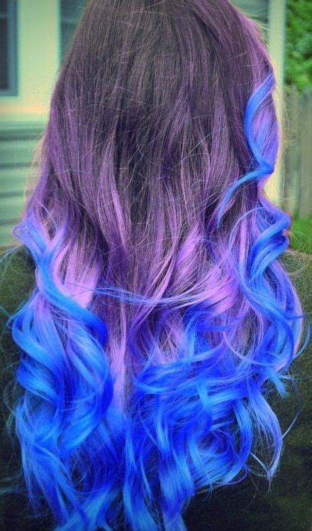 Purple And Blue Pastel Dip Dyed Ombre Hair