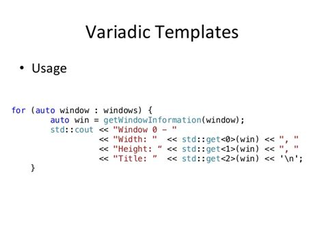 c variable arguments vs variadic templates milot shala c oscal2014