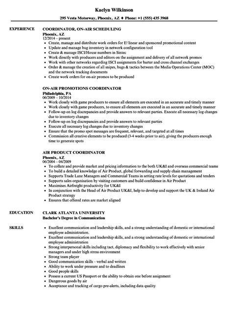 Air Resume by Air Coordinator Resume Sles Velvet