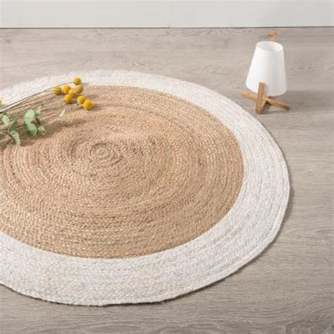 tapis rond en jute coloris blanc  naturel diametre