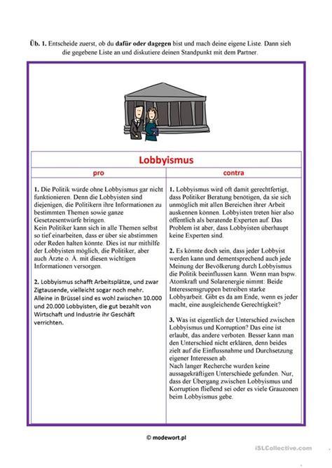 lobbyismus diskussion arbeitsblatt kostenlose daf