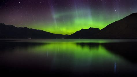 wallpaper aurora southern lights landscape lake
