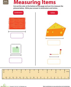 ruler reading centimeters  inches worksheet