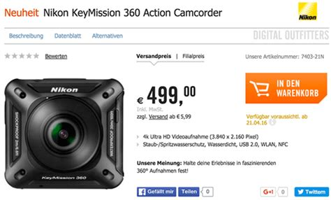 Nikon Keymission 360 Price And Specs Appear On Retailer's