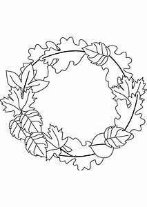 Feuilles D Automne à Imprimer : coloriage couronne en feuilles ~ Nature-et-papiers.com Idées de Décoration