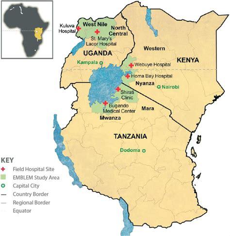 map  east africa showing  regions   emblem study