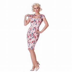 hell bunny rosalie robe moulante fuseau satin rose floral With robe moulante rose