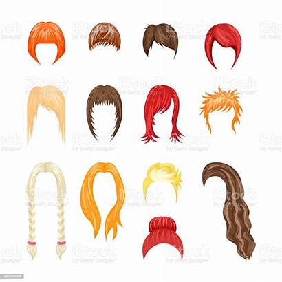 Cartoon Hairstyles Woman Hair Short Cut Vector