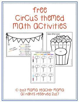 circus themed math activities  images math