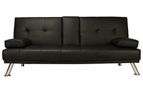 Black Leather Bed Settee by Sofa Bed Black Faux Leather Click Clack Settee 2 To