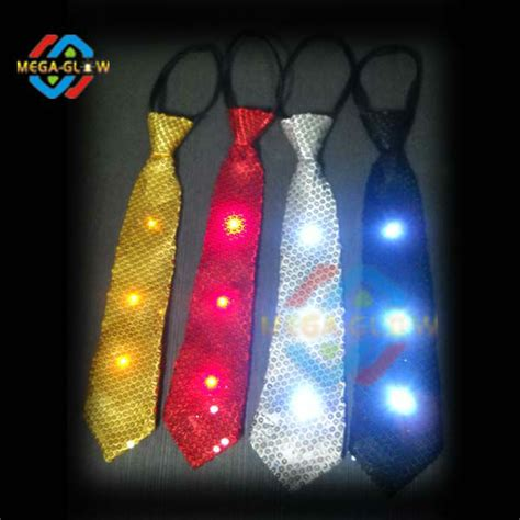 4 led lights led tie light up sequin necktie