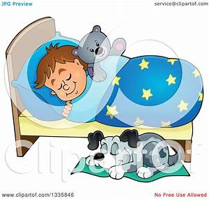 Clipart of a Cartoon Dog Sleeping by a Brunette Caucasian ...