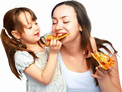 Eating Pizza Child Woman Mother Pngio Enjoy