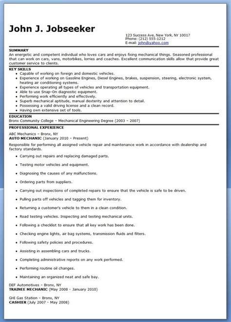 Automotive Resumes by Auto Mechanic Resume Sle Free Creative Resume Design