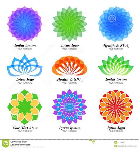 lotus flower colors lotus color vector logo label and emblem set stock vector