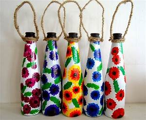 Recycle craft; decorative painted bottle ideas ~ Creative ...